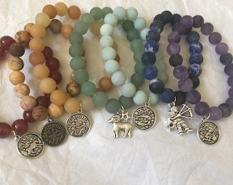 Sagittarius Star Sign Crystal Bracelet | Three Different Charms to Choose From | Zodiac Goddess Reiki Healing Bracelet | Astrology