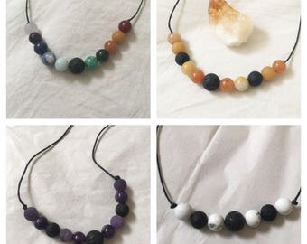 Essential Oil Diffuser Reiki Necklace With Coloured Crystal Beads | Waxed Cotton Cord | Custom | Black or Brown String | Lava Stone Bead |