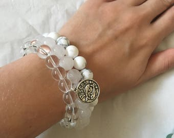 Crown Chakra Bracelet Stack | Agate Clear Quartz and Howlite | Angel Goddess Custom Personalised Essential Oil Diffuser