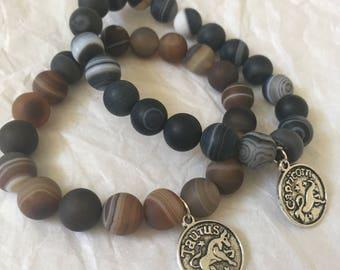 Striped Agate Black or Brown Power Bracelet | Angel Goddess Essential Oils Diffuser Bracelet | Heart Chakra | Love Healing