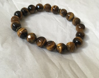Grade A Tigers Eye Crystal Bracelet | Reiki Infused Matte or Shiny | Custom Personalised Charms | Essential oil diffuser bracelet