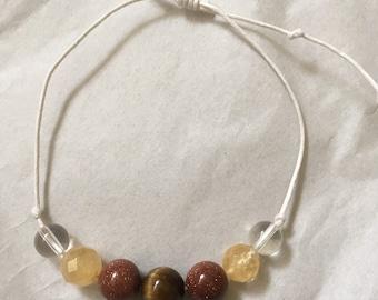 Weight Loss String Crystal Bracelet    Reiki Infused Bracelet   Orange Red Brown Crystals   Confidence Clarity Focus Motivation
