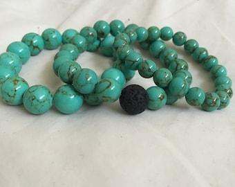 Green Turquoise Goddess Crystal Bracelet   Throat Eye Chakra   Aries Sagittarius   Archangel Sandalphon   Serenity Friendship