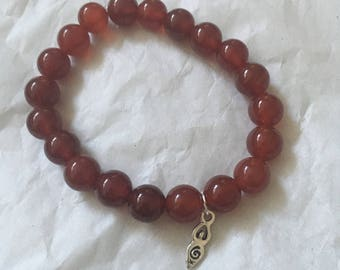 Red Agate Reiki Infused Crystal Bracelet | Isis Goddess Essential Oils Diffuser Bracelet | Root Base Chakra | Grounding Safety Confidence