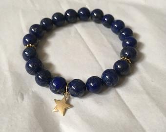 Moonlight/ Starlight Bracelet | Lapis Lazuli With Star or Moon Charm | Sparkly Blue Custom Crystal Bracelet