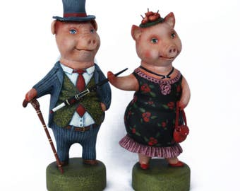 Pigs. Wood. Sculpture. Figures of animals. Animalistics. Collectible toys. Price 370 dollars for two figures