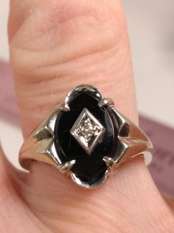 Vintage black Onyx ring, vintage rings, vintage st