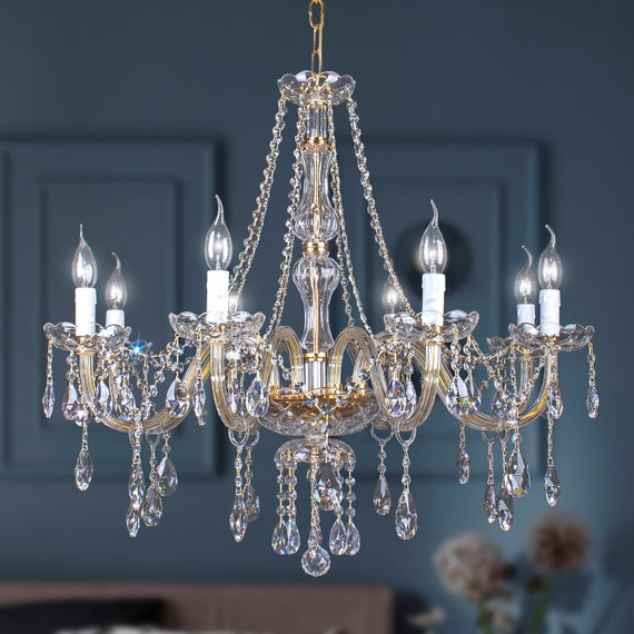 Crystal Chandelier Classic 8 Lights Crystal Asfur In Gold Etsy