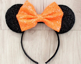 Minnie Mouse Ears, Mickey Mouse Ears, Minnie Ears, Mickey Ears, Disney Ears, Orange Sequin Bow, Orange Disneyland Ears, Disney World, Disney