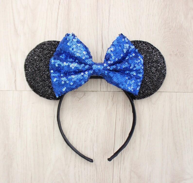 0b9e3b3ede8 Blue Minnie Bow Black Minnie Mouse Ears Disneyland Ears