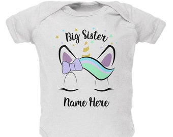 Custom Big Sister Unicorn Personalize Name Soft Baby One Piece