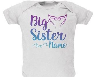 Custom Big Sister Mermaid Tail Personalize Name Soft Baby One Piece