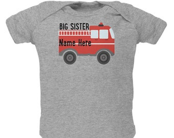Custom Big Sister Fire Truck Add Name Soft Baby One Piece