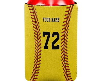 Custom Softball Your Name and Number All Over Can Cooler
