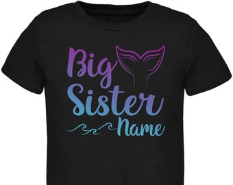 Custom Big Sister Mermaid Tail Personalize Name Toddler T Shirt