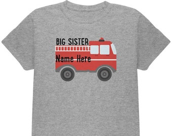Custom Big Sister Fire Truck Add Name Youth T Shirt