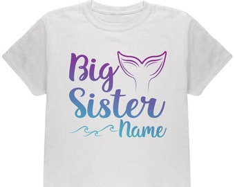 Custom Big Sister Mermaid Tail Personalize Name Youth T Shirt