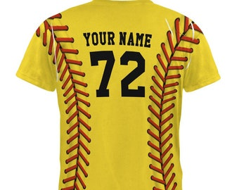 Custom Softball Your Name and Number All Over Mens T Shirt