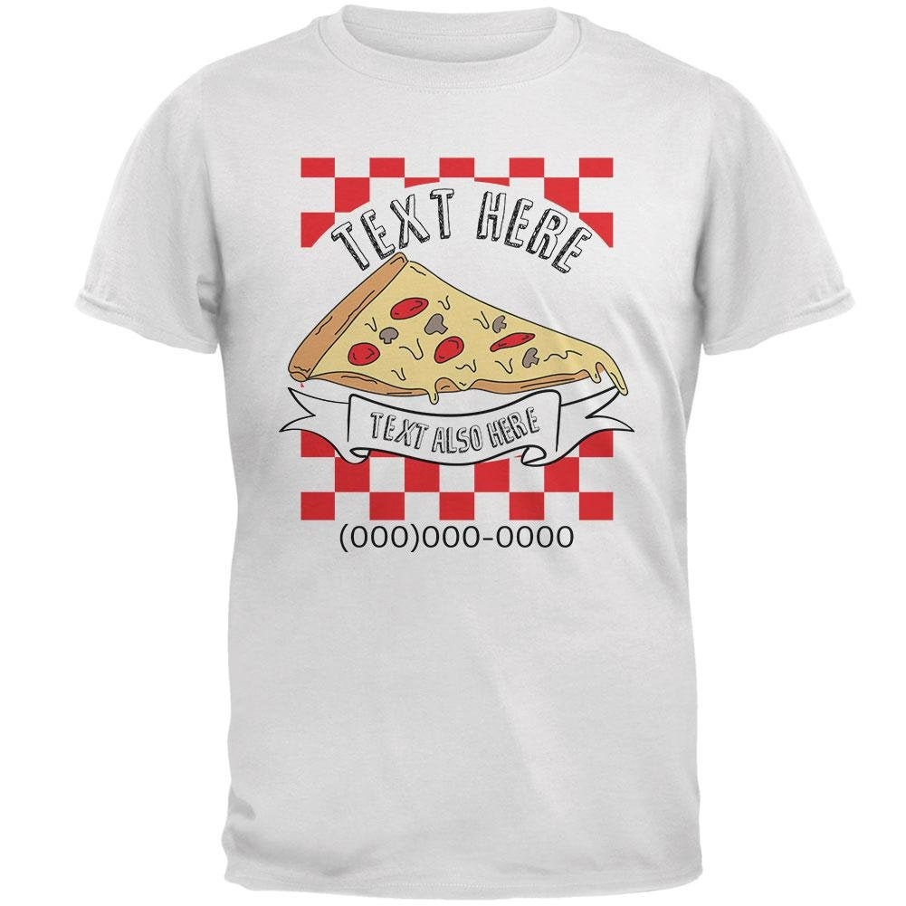 Custom Pizza Box Shirt Personalize Name Text Number Mens T Shirt