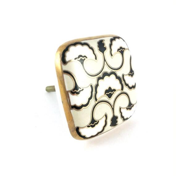 Platz Keramik Art-Deco-detaillierte Knopf schwarz weiß & Gold | Etsy