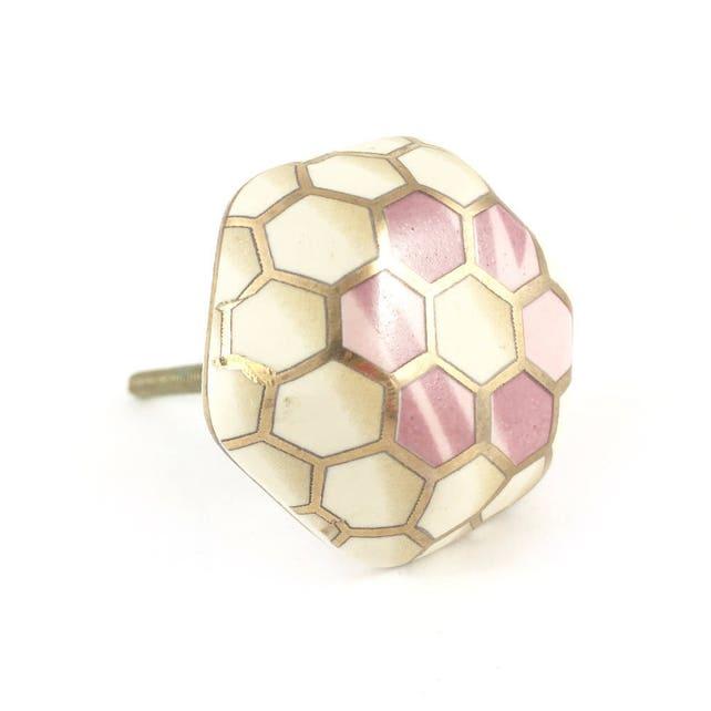 Geometrische Keramik Blumenknopf rosa weiß und Gold | Etsy