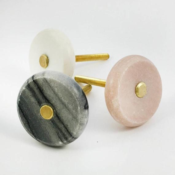 Grauer Marmor und Messing-Knopf Runde modernen Schrank Knopf | Etsy