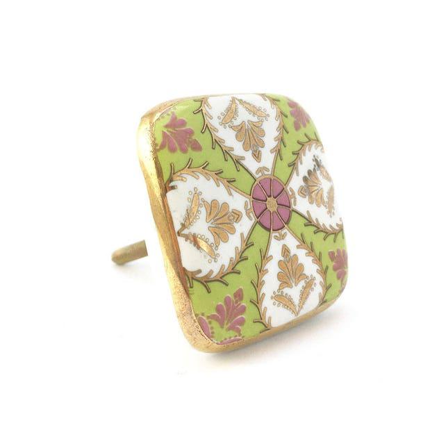 Platz Keramik Art-Deco-detaillierte Knopf grün weiß Pink & | Etsy