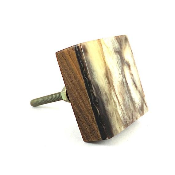 Holz und Harz-marmoriert-Quadrat-Knopf Küchenschrank Griff   Etsy