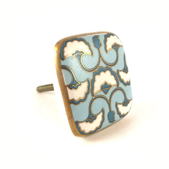 Platz Keramik Art-Deco-detaillierte Knopf blau weiß & Gold | Etsy