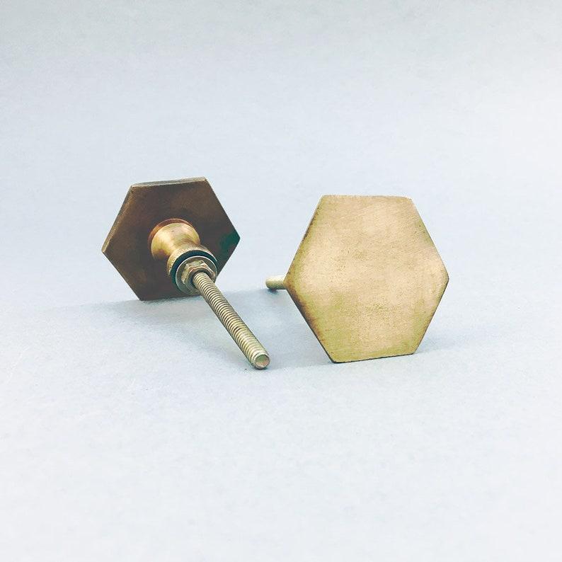 Antique Gold Slimline Hexagon Knob Iron Knob Vintage Drawer or Cabinet Pull Decorative Knob Dresser Knob Cabinet Hardware Kitchen Knob