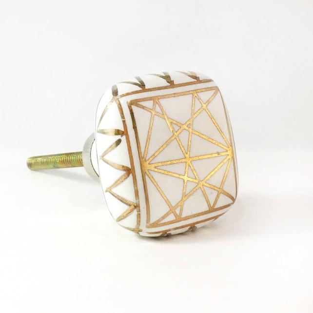 Platz weiß und Gold geometrische Knopf weiß & Gold von Hand | Etsy