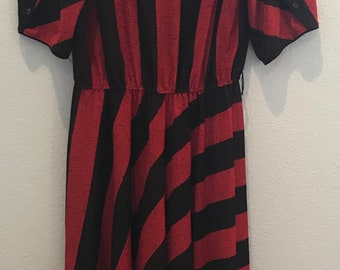 Vintage TF red black stripe A Line dress made in USA women size 12 business