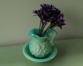 Miniature milk glass blue-green vintage Avon pitcher and basin