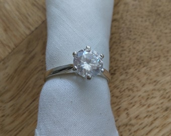 Solitaire ring in 925 sterling silver cubic zirconia size 53 (US 6 1/4) vintage