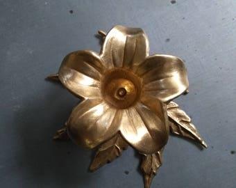 Vintage brass flower candle holder. French. Brass flower. Vintage candlestick