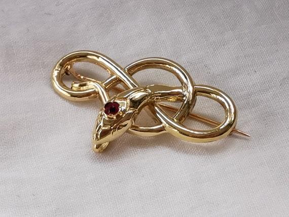 18K Art Nouveau gold snake brooch