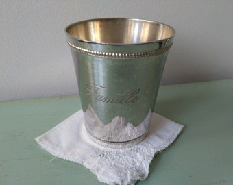 Large timbale Family in French silver-plated metal