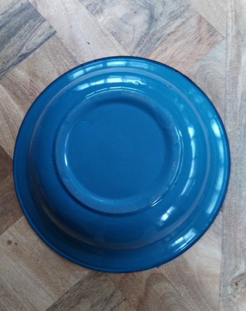 Becken Emaille blau französisches Öl vintage