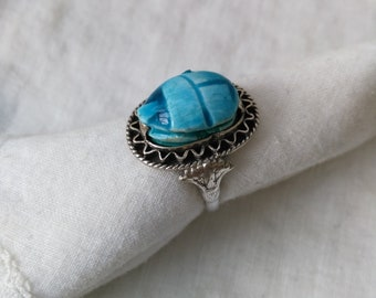 Vintage egyptian silver blue beetle ring