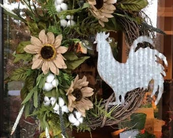Small grapevine tin rooster wreath.