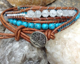 Leather Tree of Life wrap bracelet