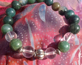 Green Moss Agate and Quartz Crystal Bracelet