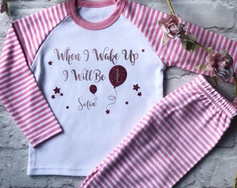 Childrens Birthday Pyjamas When I Wake Up Personalised Kids Pjs Gifts For Babies First Gift