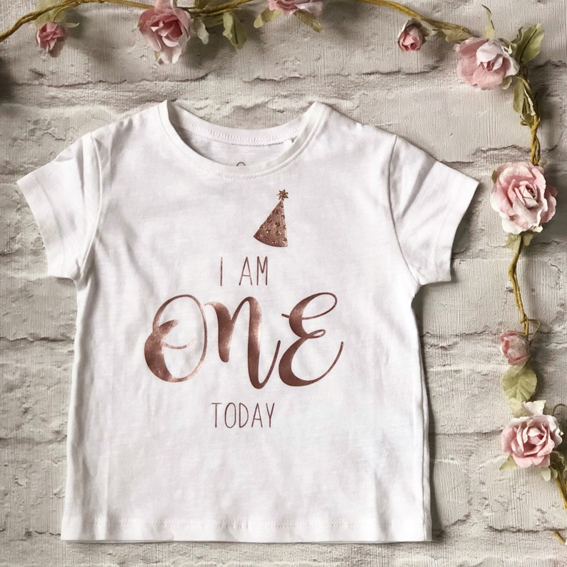 I Am One Today T Shirt First Birthday Tee Childrens