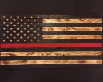 Wooden Red Line Flag Customizable Wood Burned Rustic Sign Gift Charred Firefighter Wall Decor