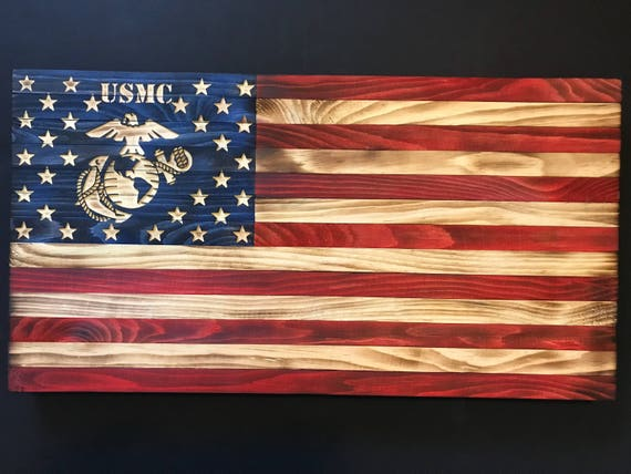 38x19 Wooden American Flag w  Marine Logo  44be3a4934d