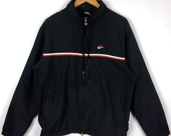 Vintage NIKE SWOOSH SPORTSWEAR Small Logo Activewear Windbreaker Jacket  Black Colour Double Extra Large Size f08dda780