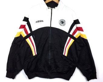 Vintage ADIDAS GERMANY DEUTSCHER Football Association Three Stripe Fully  Zipper Sweater Original Colour Large Size 7fe41a9fa