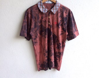 a71577d11543 The Famous BURBERRYS OF LONDON Made In England Tie-Dye Polo Shirt Large Size