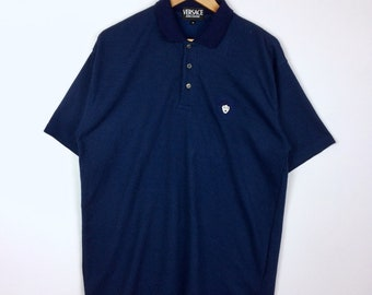 98907794 Rare!!! Vintage VERSACE JEANS COUTURE Medusa Half Button Polo Shirt Dark  Blue Colour Medium Size